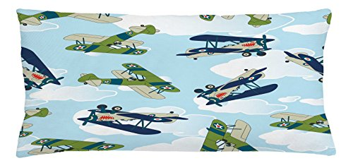 Airplane Throw Pillow Cushion Cover by Lunarable, Vintage Allied Plane Flying Pattern Cartoon Children Kids Shark Teeth, Decorative Square Accent Pillow Case, 36 X 16 Inches, Blue White Olive Green - Allied Wide Table