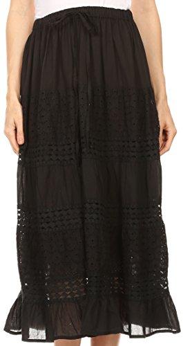 Sakkas 5289 - Geneva Cotton Eyelet Skirt with Elastic Waistband - Black - -