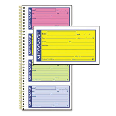 Wirebound Telephone Message Book, Two-Part Carbonless, 200 Forms, Sold as 1 Each