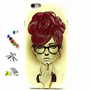 LCJ Girl Pattern TPU Material with Stylus Anti-Dust Plug and Stand Portfolio for iPhone 6