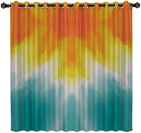 BedSweet Blackout Room Darkening Curtains, 52 by 96 Inch Visual Impact, Vibrant Gradient Window Panel Drapes for Kitchen Bedroom