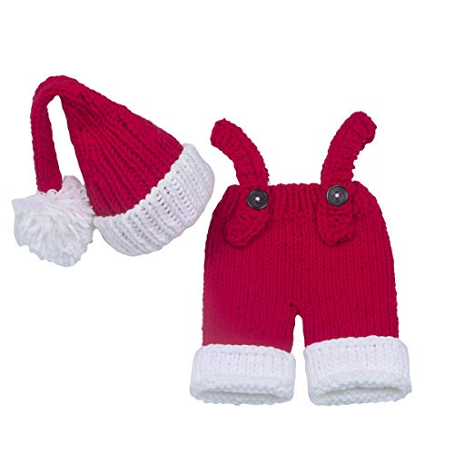 ISOCUTE Christmas Costume Newborn Photo Outfits for Baby Boy Girl Santa Claus Hat Overall