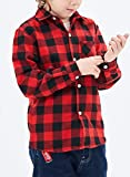 Plaid Shirts for Girls Boys Long Sleeve Button Down Flannel Christmas Plaid Shirt Kids
