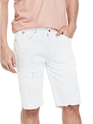 GUESS Men's Slim Raw-Edge Denim Shorts (Raw Shorts Edge Denim)