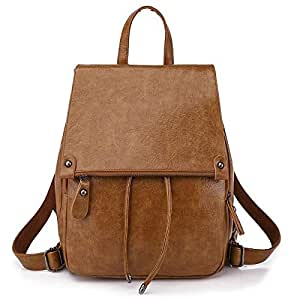 Vintage Women's Pu Leather Backpack Casual Daypack Handbags for Ladies & Girls Purse Ladies Casual Shoulder Bag