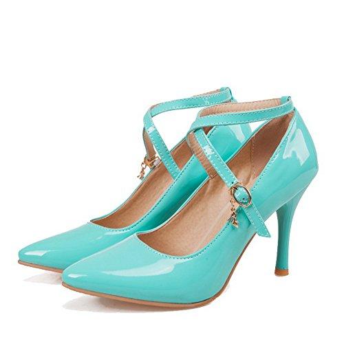 AllhqFashion Damen Schnalle Hoher Absatz PU Leder Rein Spitz Zehe Pumps Schuhe Blau