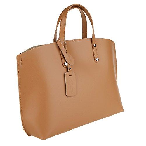 A Donna Cuoio Italy In Borse Made Borsa Cm Da Chicca Handbag 47x30x14 Mano Pelle Vera q6gHYctw