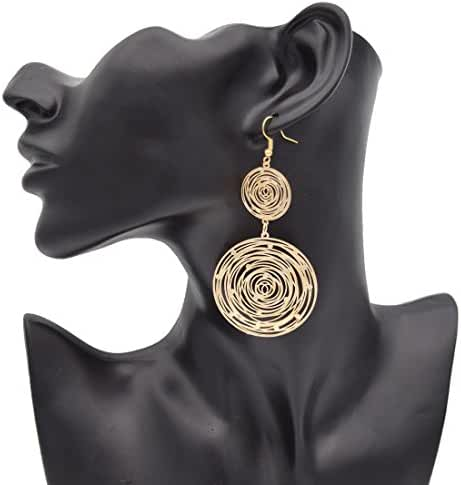 Maying Gold-plated Big Circle Lightweight Dangle Long Drop Earrings