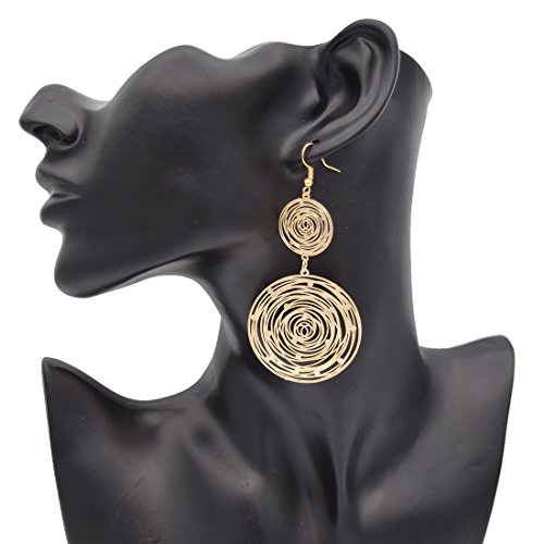 Maying Gold-plated Big Circle Lightweight Dangle Long Drop Earrings