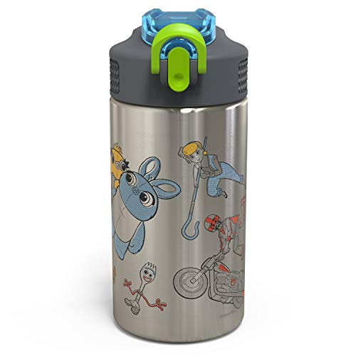 Zak Designs Toy Story 4 - Stainless Steel Water Bottle with One Hand Operation Action Lid and Built-in Carrying Loop, Kids Water Bottle with Straw Spout is Perfect for Kids (15.5 oz, 18/8, BPA Free) -