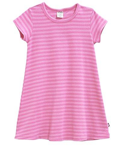 City Threads Little Girls' Cotton Short Sleeve Cover Up Dress for Sensitive Skin SPD Sensory Friendly, Stripe Medium Pink 5