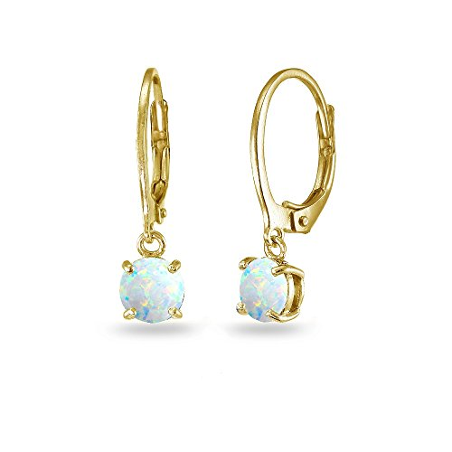 LOVVE Yellow Gold Flashed Sterling Silver Created White Opal 6mm Round Dangle Leverback Earrings Created Opal Leverback Earrings