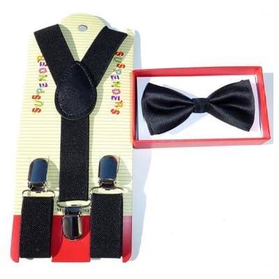 Baby Toddler Kids Children Boys Girls Black Bow Tie & Suspender Set