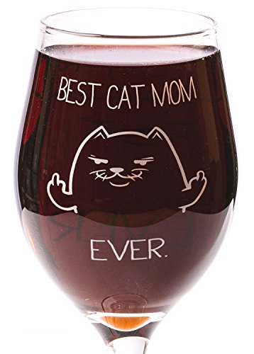 Funny Guy Mugs Best Cat Mom Ever Wine Glass, 11-Ounce - Unique Gift for Women, Mom, Daughter, Wife, Aunt, Sister, Girlfriend, Teacher or Coworker (Several Styles To Choose From) ()