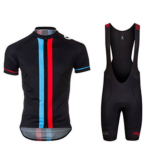 Uglyfrog Newest #01 Short Sleeve Cycling Jersey + Short Bib Tight Sets with Gel Pad Men Breathable Outdoor Sports Wear Summer Bicycle Triathlon Top Quick Dry ()