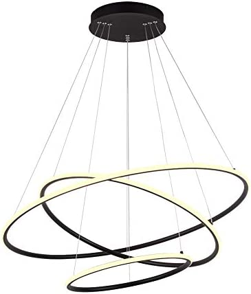 Royal Pearl Modern 3-Ring LED Chandelier Dimmable Contemporary Ceiling Light LED Pendant Light