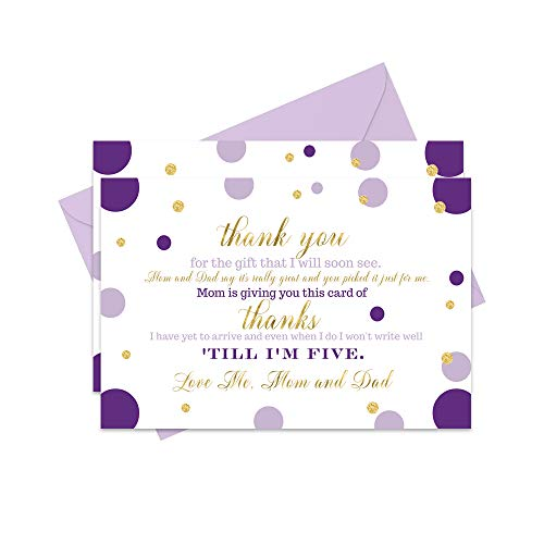 Purple Gold Baby Shower Thank You Cards and Envelopes - 15 Pack