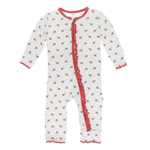 Pink Rose Bud Print - Kickee Pants Little Girls Print Muffin Ruffle Coverall with Zipper - Natural Rose Bud, 5 Years