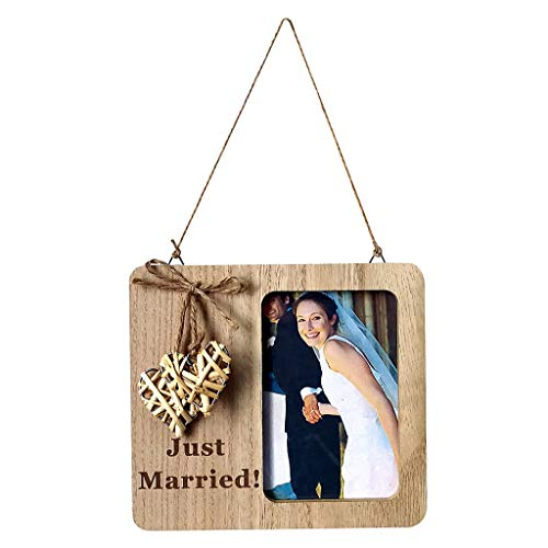 LLJEkieee Wooden Photo Frame Handmade for Wedding Countdown Engaged Wall Table Decor (C)