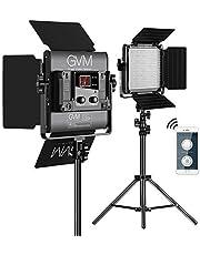 LED Video Lighting Kits,GVM 480LS 2 Pack Video Light with APP Control CRI97+ TLCI97 Bi-Color 10~100% for Video Photography, Led Video Light Panel +Barndoor