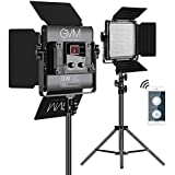 LED Video Lighting Kits,GVM 480LS 2 Pack Video Light with APP Control CRI97+ TLCI97 Bi-Color 10~100% for Video Photography, Led Video Light Panel +Barndoor