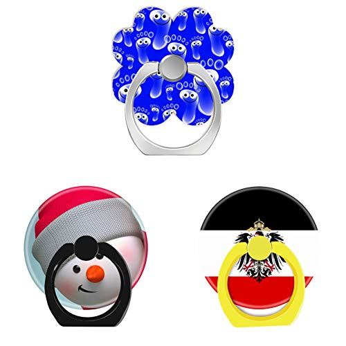 (Bsxeos 360°Rotation Cell Phone Ring Holder with Car Mount Work for All Smartphones and Tablets-Cute Snowman-German Eagle-Happy Blue feet(3 Pack))