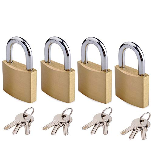 Keyed Alike Solid Brass Padlock 1-9/16-inch(40mm) Pin Tumbler Padlock Short Shackle with 3 Steel Keys 4packs 4 Pin Tumbler Steel Padlock