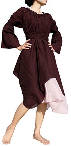 Raan Pah Muang Brand Medieval Serving Wench Cotton Renaissance Dress, Medium, Bole Brown by Raan Pah Muang