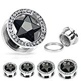 Covet Jewelry Star CZ and Multi-Gemmed Rim 316L Surgical Stainless Steel Screw Fit Hollow Tunnel (7/8'' (22mm), Black/Clear)