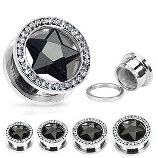 Covet Jewelry Star CZ and Multi-Gemmed Rim 316L Surgical Stainless Steel Screw Fit Hollow Tunnel (7/8'' (22mm), Black/Clear) by Covet Jewelry