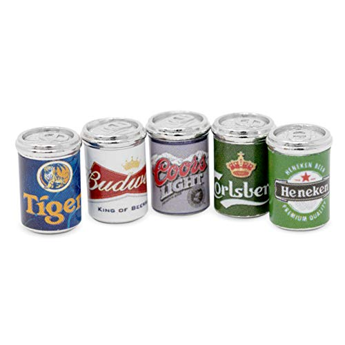American Heritage Industries Dollhouse Beer Cans- Set of 5 1:12 Scale Dollhouse Beer Cans, with Realistic Looking Mini Beer Cans, Fun Addition to Dollhouses or Fairy Gardens, an Product (Small Beer Cans)