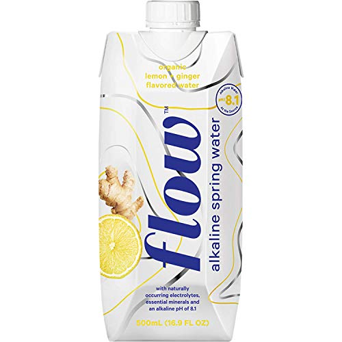 Flow Alkaline Spring Water, Organic Lemon + Ginger, 100% Natural Alkaline Water pH 8.1, Electrolytes + Essential Minerals, Eco-Friendly Pack, 100% Recyclable, BPA-Free, Non-GMO, Pack of 12 x 500ml (Store Soul Your Soothe)