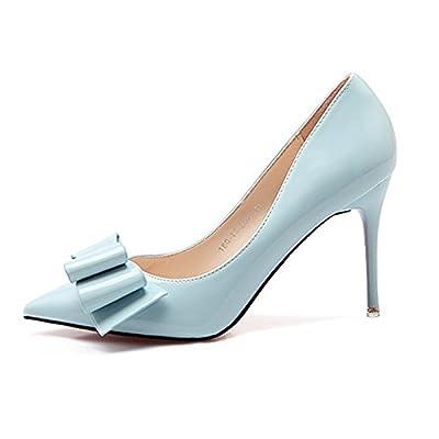 Xue Qiqi femmes ultra-fins avec des chaussures comme les chaussures femme mode Noeud Papillon lumière travail embout chaussure unique,39, bleu (9 cm)