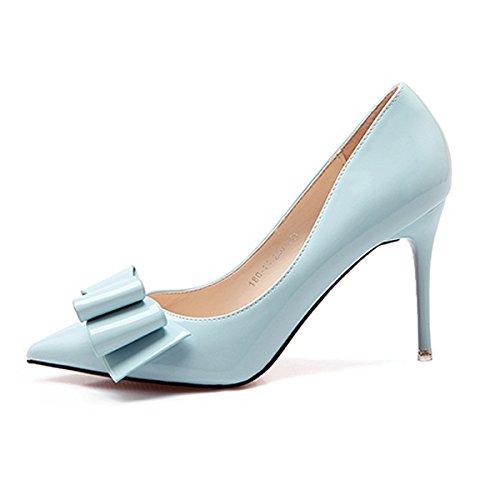 34 des femme les unique fins lumière bleu chaussures chaussures cm embout Qiqi mode Noeud comme Papillon chaussure travail 9 avec ultra Xue femmes gXqHw