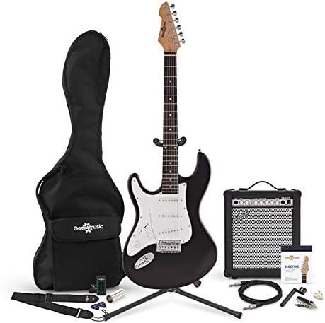 Guitarra Electrica LA Zurda + Pack de Ampli de 35W - Negro: Amazon ...