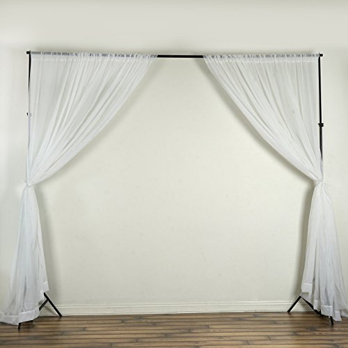 BalsaCircle 10 feet x 10 feet White Sheer Voile Backdrop Drapes Curtains 2 Panels 5x10 ft - Wedding Ceremony Party Home Decorations ()