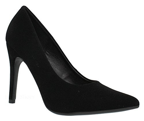 Wide High Heel Shoes - MVE Shoes Classic Pointed Toe Pumps - Slip On Comfortable Work High Heel - Wide Fit Stiletto Heel Dress Pumps Shoes, Black nbpu Size 9