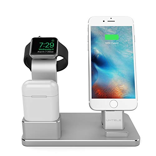 UMTELE Compatible with iPhone and Apple Watch Charging Dock, Aluminum iPhone Charger Stand AirPods Holder Compatible with Apple Watch Series 4/3/2/1, AirPods, iPhone X/Xs/Xs Max/Xr/X/8/8 Plus/7/6