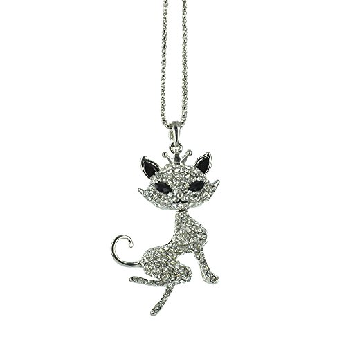 Twinkle Crystal Metal Pendant Necklace - Opera Cool Cat (Silver (Kitty Cat Costume Homemade)