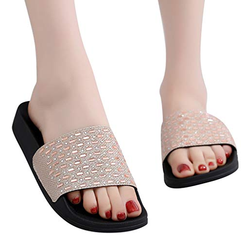 Pongfunsy Women Sandals, Summer Open Toe Chunky Sandals Fashion Belt Buckle Flat Wild Beach Shoe Non-Slip Slippers Black