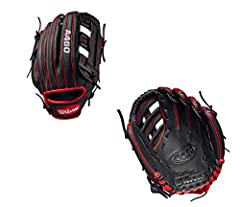 """The A450 line of Wilson gloves are designed to look like Pro Stock model gloves worn by some of the top players in Major League Baseball. This Black and Red 11"""" Dual Post Web model is perfect for young players looking to develop their skills...."""