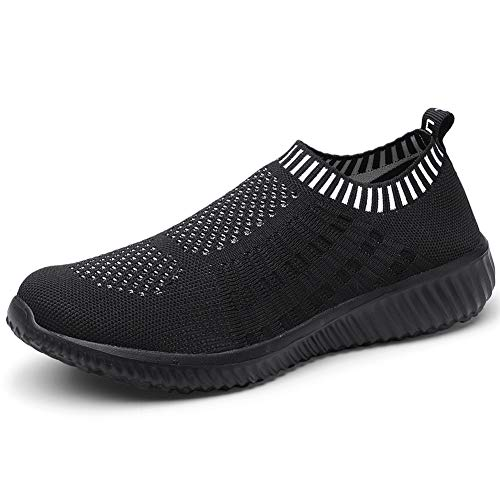 LANCROP Women's Comfortable Walking Shoes - Lightweight Mesh Slip on Athletic Sneakers 9 US, Label 40 All Black