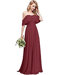 630967ed4cb Strapless Chiffon Bridesmaid Dresses Long with Shoulder Ruffles for Women  Girls to Wedding Party Gowns
