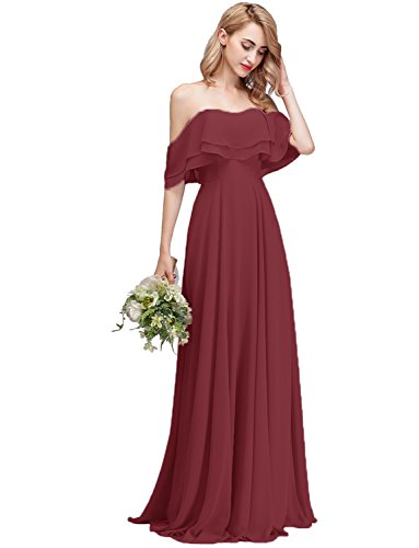 CLOTHKNOW Strapless Chiffon Bridesmaid Dresses Long Burgundy with Shoulder Ruffles for Women Girls to Wedding Party Gowns