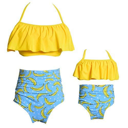 Ababalaya Mommy and Me Matching Family Swimsuits Mother and Daughter Bikini Bathing Suit Beachwear Sets, Yellow-Banana, Mum, Large