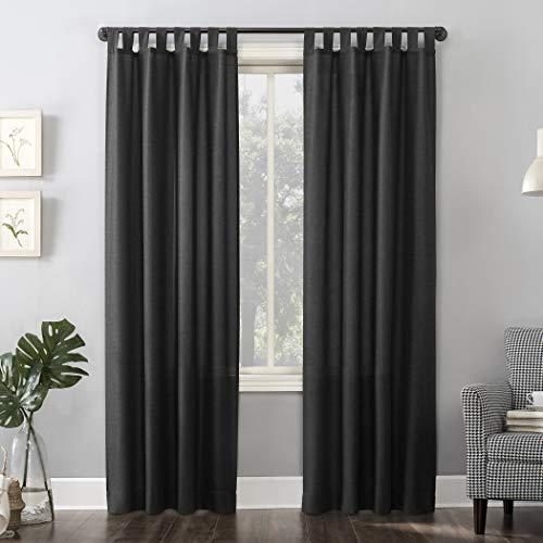 "No. 918 Trevor Heathered Texture Semi-Sheer Tab Top Curtain Panel, 40"" x 63"", Coal Gray"