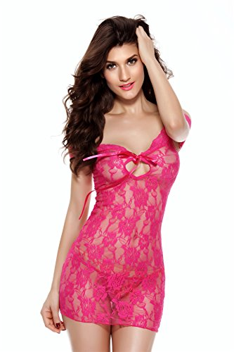 Desirelove Women See-through Lingerie Lace Sxey Chemise Floral Babydolls Outfits