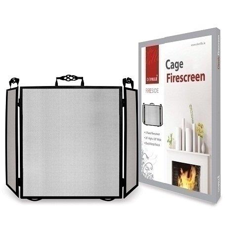 De Vielle DEF055191 Classic Cage 3 Panel Heavy Duty Fireplace Spark Firescreen Fireguard DeVille