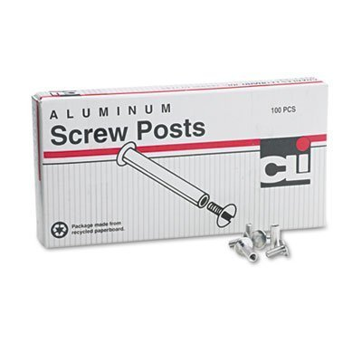 Post Binder Aluminum Screw Posts, 3/16 Diameter, 1/2 Long, 100/Box, Sold as 100 Each by CLI by CLI