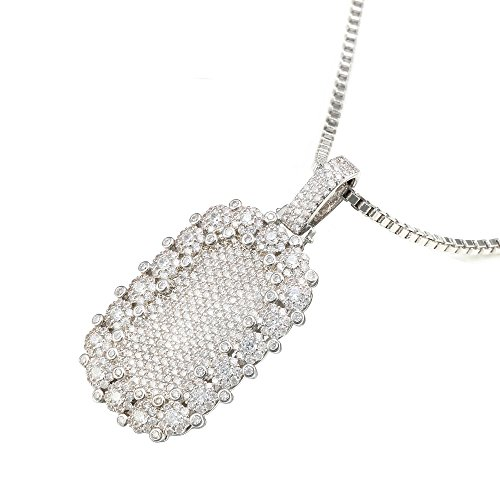 VANAXIN Pendant Necklace White Gold Finished Iced Out Cubic Zirconia Square Punk Trendy Style Jewelry for Women Men 30